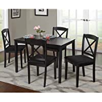 Mason 85515WHT 5 Piece Cross Back Dining Set, 1 Dining Table & 4 Cross Back Chairs, Rubberwood Construction, Black Color