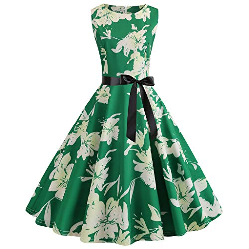 (WOCACHI Womens Vintage Dresses Sleeveless Floral Party Prom Retro Swing Dress Mini Maxi Midi Swing Pleated Tank Print Off Shoulder Floral Solid Skirt Sequin Princess)