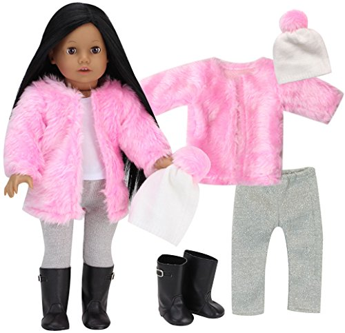 Sophia's Doll Clothes 18 Inch Doll 5 Piece Winter Set | Pink Shaggy Doll Coat, White Pom-pom Doll Hat, Silver Leggings, White Tank & Black Boots Perfect American Dolls & More!