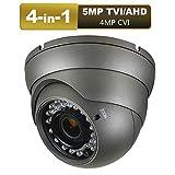 Dome Security Camera 5mp AHD/TVI, 4mp CVI, 960H CVBS 4-in-1 CCTV Camera 2.8mm-12mm Varifocal Lens 100ft IR Day/Night Monitoring IP66,Compatible with AHD/CVI/TVI&CVBS DVR(5mp Black)
