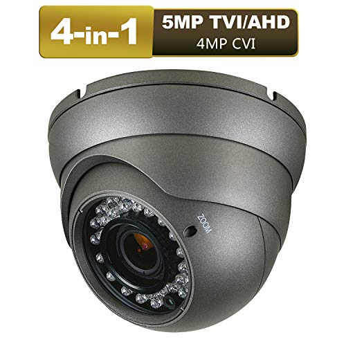Dome Security Camera 5mp AHD/TVI, 4mp CVI, 960H CVBS 4-in-1 CCTV Camera 2.8mm-12mm Varifocal Lens 100ft IR Day/Night Monitoring IP66,Compatible with AHD/CVI/TVI&CVBS DVR(5mp Black) ()