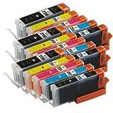 2inkjet Set of 15 PACK PGI-250XL & CLI-251XL Compatible Ink Cartridge for Canon Pixma PIXMA IP7220, MG5420, MG5422, MG5520, MG6320, MG6420, MG7120, MX722, MX922