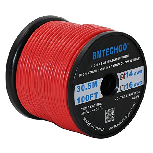 BNTECHGO 14 Gauge Silicone Wire Spool red 100 feet Ultra Flexible High Temp 200 deg C 600V 14 AWG Silicone Rubber Wire 400 Strands of Tinned Copper Wire Stranded Wire - 100' Spool Gauge Wire