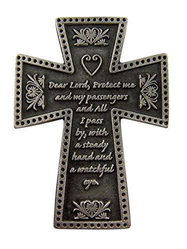 Fine Pewter Catholic Motorist Prayer Cross Auto Visor Clip, 2 1/4 Inch (Auto Visor Clip)