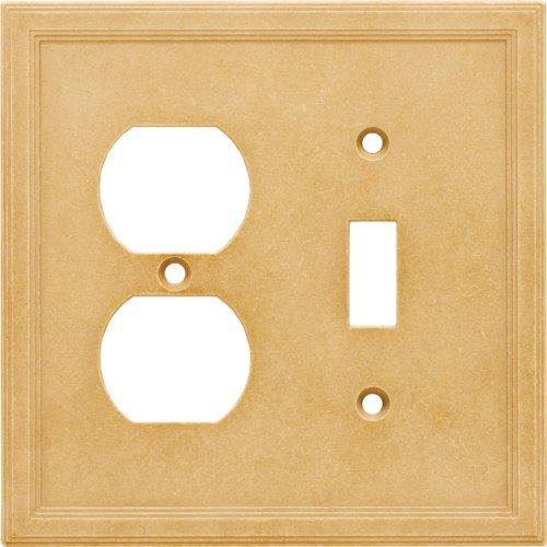 Single Toggle Duplex Combo Cast Stone Wall Plate - Sahara