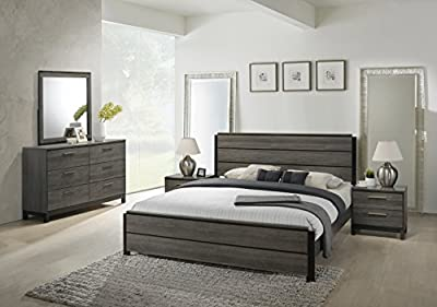 Roundhill Furniture Ioana 187 Antique Grey Finish Wood Bed Room Set, King Size Bed, Dresser, Mirror, 2 Night Stands-P from Roundhill Furniture