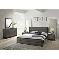 Roundhill Furniture Ioana 187 Antique Grey Finish Wood Bed Room Set, Queen Size Bed, Dresser, Mirror, 2 Night Stands