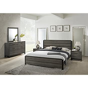 4pc queen size bedroom set with wood grain in for Best rated bedroom furniture