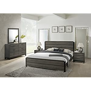 Roundhill Furniture Ioana 187 Antique Grey Finish Wood Bed Room Set, King Size Bed, Dresser, Mirror, 2 Night Stands-P