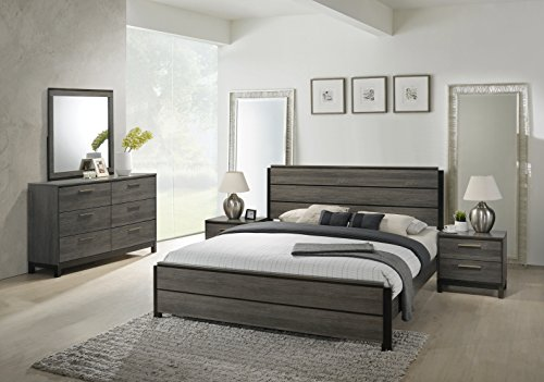 Roundhill Furniture Ioana 187 Antique Grey Finish Wood Bed Room Set, Queen Size Bed, Dresser, Mirror, 2 Night (Queen Size Bed Furniture)