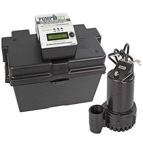 Basement Backup Sump Pump - PumpSpy Technology PS1000 12V DC Battery Back-Up Sump Pump with Built-in Internet Monitoring