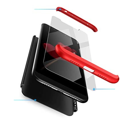 Ququcheng Funda Xiaomi Redmi Note 6 Pro,Carcasa Xiaomi Redmi Note 6 Pro[con Protector de Pantalla] 3 en 1 Desmontable 360°Protection Case ...