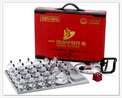 Hansol Professional Cupping Therapy Equipment 30 Cups Set with pumping handle and Extension Tube & English Manual (Made in Korea)
