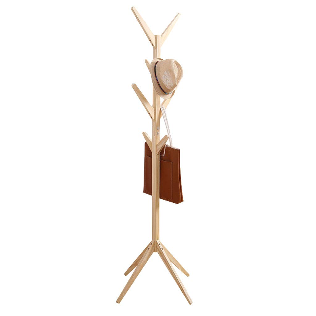 Wood color 4545175cm Coat Rack Simple Coat Rack Creative Tree Solid Wood Floor Hanger Fashion Living Room Bedroom Hanger Multi-Function Save Space (color   Light Coffee, Size   45  45  175cm)