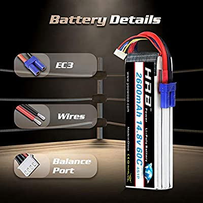 HRB 2Packs 4S Lipo 14.8V 2600Mah 60C 120C EC3 RC Battery for Airplane Quadcopter Truck: Toys & Games