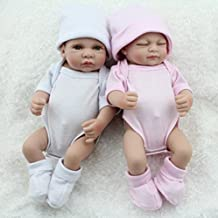 Kaydora 10inch Full Silicone Reborn Baby Boy and Girl Twins Washable Handmade Lifelike Dolls Looking Body Wrinkles - White and Pink Set