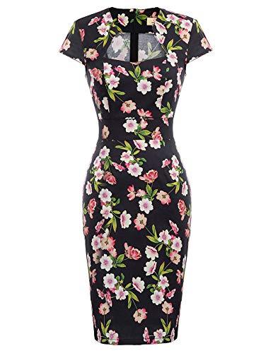 Women's 1950s Pinup Retro Vintage Cap Sleeve Floral Bodycon Pencil Dress M CL7597-28,Fr-28(Cotton + Spandex) Cotton Cap Sleeve Square Neck