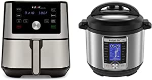 Instant Vortex Plus Air Fryer 6 in 1, Best Fries Ever, Dehydrator, 6 Qt, 1500W & Ultra 10-in-1 Electric Pressure Cooker, Sterilizer, Slow Cooker, 6 Quart, 16 One-Touch Programs