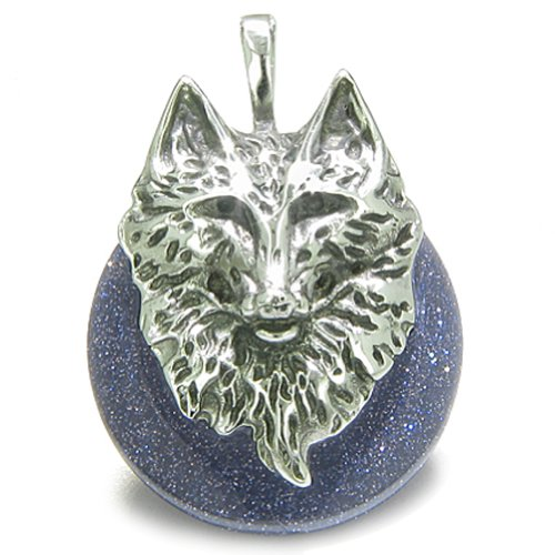 BestAmulets Amulet Wolf Head Courage Protection Powers Lucky Donut Blue Goldstone Pendant Necklace