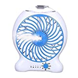 S'beauty Handheld Outdoors Misting Fan Mini Desktop USB Rechargeable Battery Water Mist Cooling Fan Portable Air Conditioner Fan for Office Outdoor Leisure Travel and More (Blue)