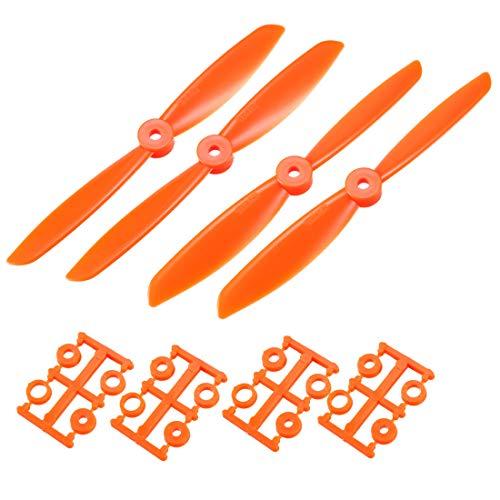 uxcell RC Propellers CW CCW 6045 6x4.5 Inch 2-Vane Quadcopter for Airplane Toy, Nylon Orange 2 Pairs with Adapter Rings
