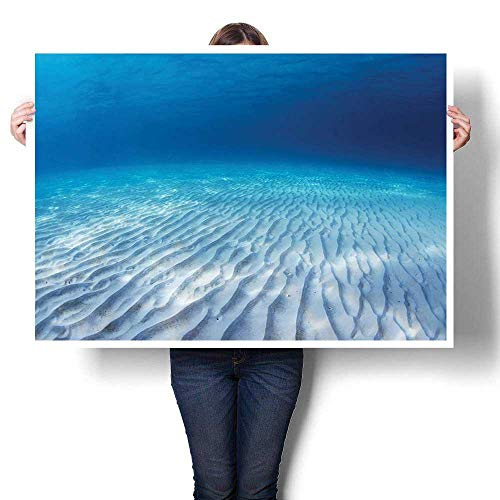 SCOCICI1588 1-Piece 100% Paintings,Underwater Shot of an Infinite Sandy Sea Bottom with Clear Water and Waves Canvas,Modern Abstract Painting Canvas Living Room,48