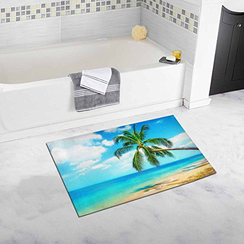 Interestprint Beautiful Maldive Resort View Of Tropical Beach With Palms House Decor Non Slip Bath Rug Mat Absorbent Bathroom Floor Mat Doormat Large Size 20 X 32 Inches