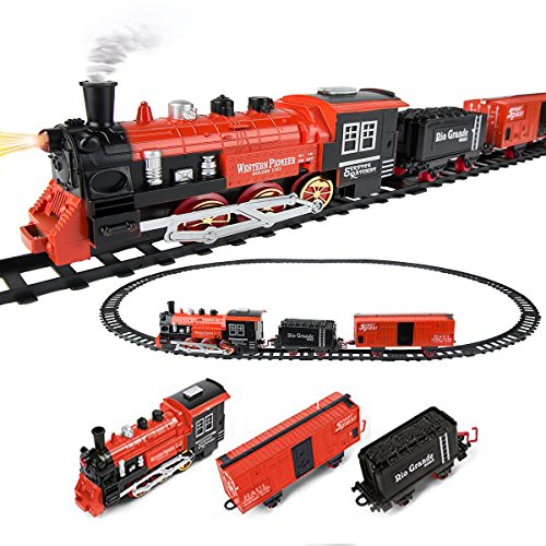 - Roxie Christmas Toy Train Set, Battery Operated Classic Western Pioneer Express Train and Carriage Set, Around Christmas tree with Music & Lights