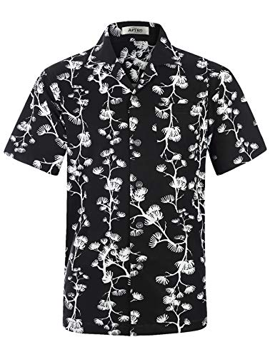 APTRO Men's Hawaiian Shirt Short Sleeve Floral Shirt HW034 XL