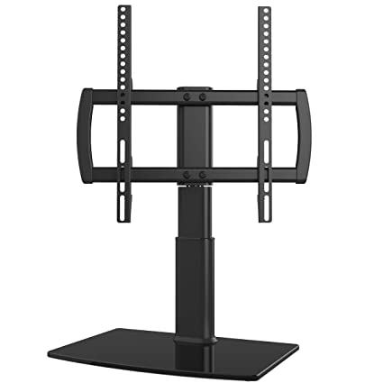 Universal Swivel TV Stand/Base Table Top TV Stand 27 to 55 inch TVs 80  Degree Swivel, 4 Level Height Adjustable, Heavy Duty Tempered Glass Base,  Holds