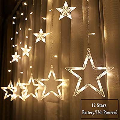 Jijie Window Curtain Lights,12 Stars 138 LED Curtain String Lights Battery Operated & USB Waterproof Fairy Lights Indoor Outdoor Decoration for Christmas,Wedding,Party,Home,Patio Lawn