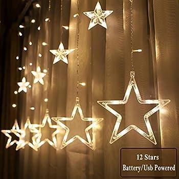 Amazon Com Jijie Window Curtain Lights 12 Stars 138 Led