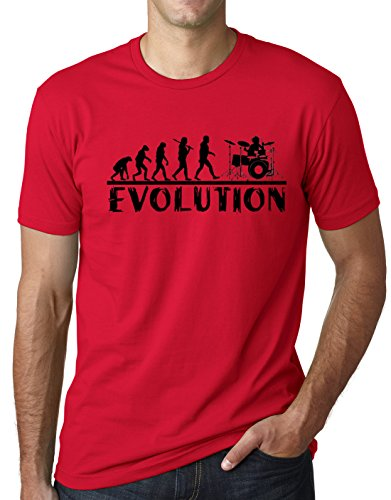 Drummer Evolution Funny T-Shirt Musician Drums Humor Tee Red XL
