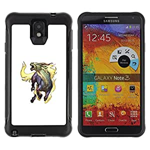 Be-Star único patrón Impacto Shock - Absorción y Anti-Arañazos Funda Carcasa Case Bumper Para SAMSUNG Galaxy Note 3 III / N9000 / N9005 ( Goat Mythical Creature Fire Horns Unicorn Art )