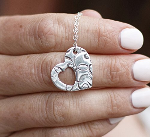 Cutout Heart Necklace 18 Inch With Swirls Stamped On Sterling Silver For Lover Mom Cut Out Swirl