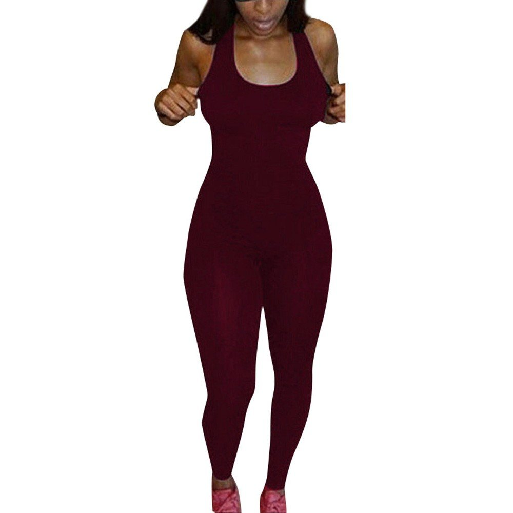 Corriee Womens Bodysuit Sleeveless Athletic One Piece Bodycon Romper Jumpsuit Red