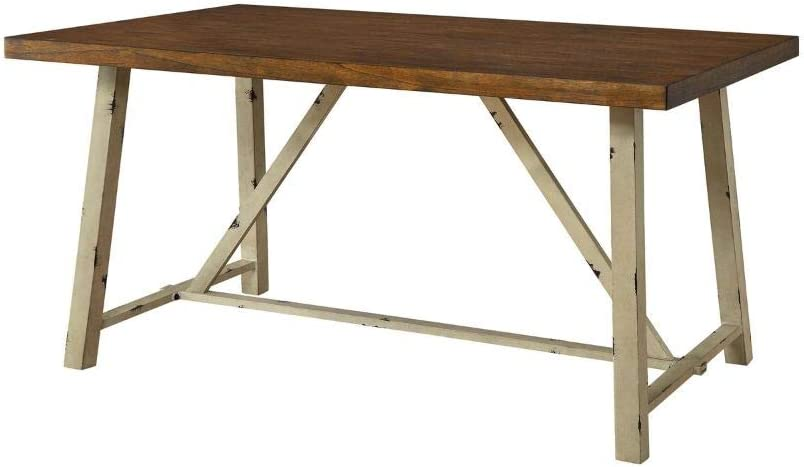 BS Farmhouse Dining Table Distressed White Wood and Metal Industrial Computer Desk Workplace Rustic Rectangular Multipurpose Table Vintage Country Cottage Kitchen Office Furniture by BADA Shop