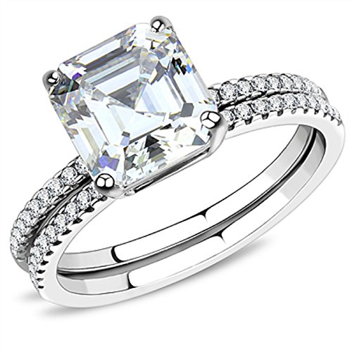 Vip Jewelry Co 3.50 Ct Asscher Cut CZ Stainless Steel Wedding Ring Set Women's Size 5-10 (5)