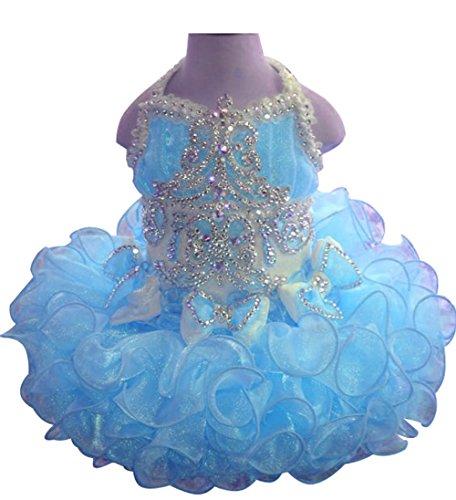 HuaiLian Baby Girls Halter Rhinestones Toddler Infant Pageant Cupcake Dresses 18M ()