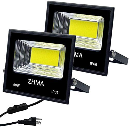 ZHMA 2 Pack 60W LED Flood Lights with Plug Switch,IP65 Waterproof LED Work Light,5400lm Super Bright Outdoor Security Lights,for Backyard,Garage,Playground, Basketball Court
