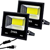ZHMA 2 Pack 60W LED Flood Light Outdoor, Spotlight with Plug & Switch,5400lm Super Bright Security Lights, IP65 Waterproof Outside Lights,for Garage,Yard,Garden.