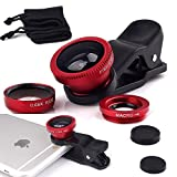 ONX3 Meitu T8 (Red) Mobile Phone Universal Camera Lens 3 in 1 Kit Wide Angle Lens + Fisheye Lens + Macro Lens with Clip-on 180 Degree For Both Android and iOS Devices