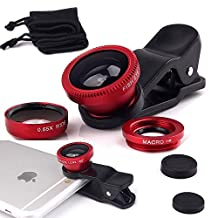 ONX3 Samsung Galaxy S5 / S5 Neo / S5 (octa-core) / S5 Duos / S5 Plus / S5 LTE-A G901F / S5 LTE-A G906S / S5 CDMA (Red) Mobile Phone Universal Camera Lens 3 in 1 Kit Wide Angle Lens + Fisheye Lens + Macro Lens with Clip-on 180 Degree For Both Android and iOS Devices