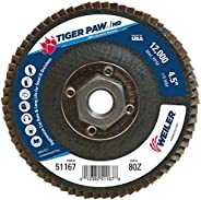 Weiler 51167 Tiger Paw XHD Super High Density Abrasive Flap Disc, Type 27 Flat Style, Phenolic Backing, Zircon