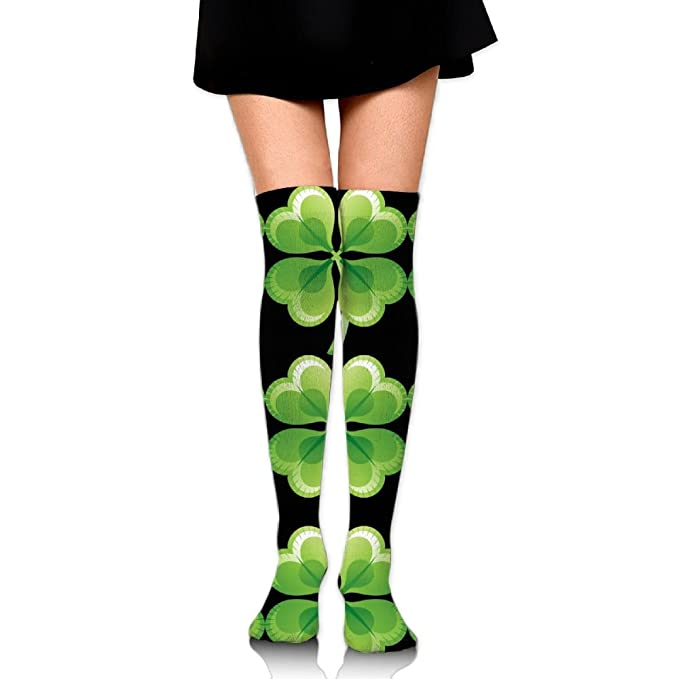 fcae9d71a3f Amazon.com  Green Clover Over The Knee Long Socks Tube Thigh-High Sock  Stockings For Girls   Womens  Clothing
