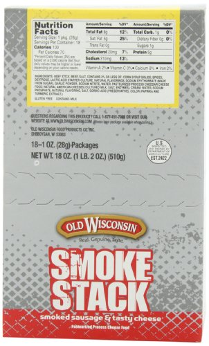 Old Wisconsin Cheese, Beef Stick and Cheddar, 1-Ounce (Pack of 18)