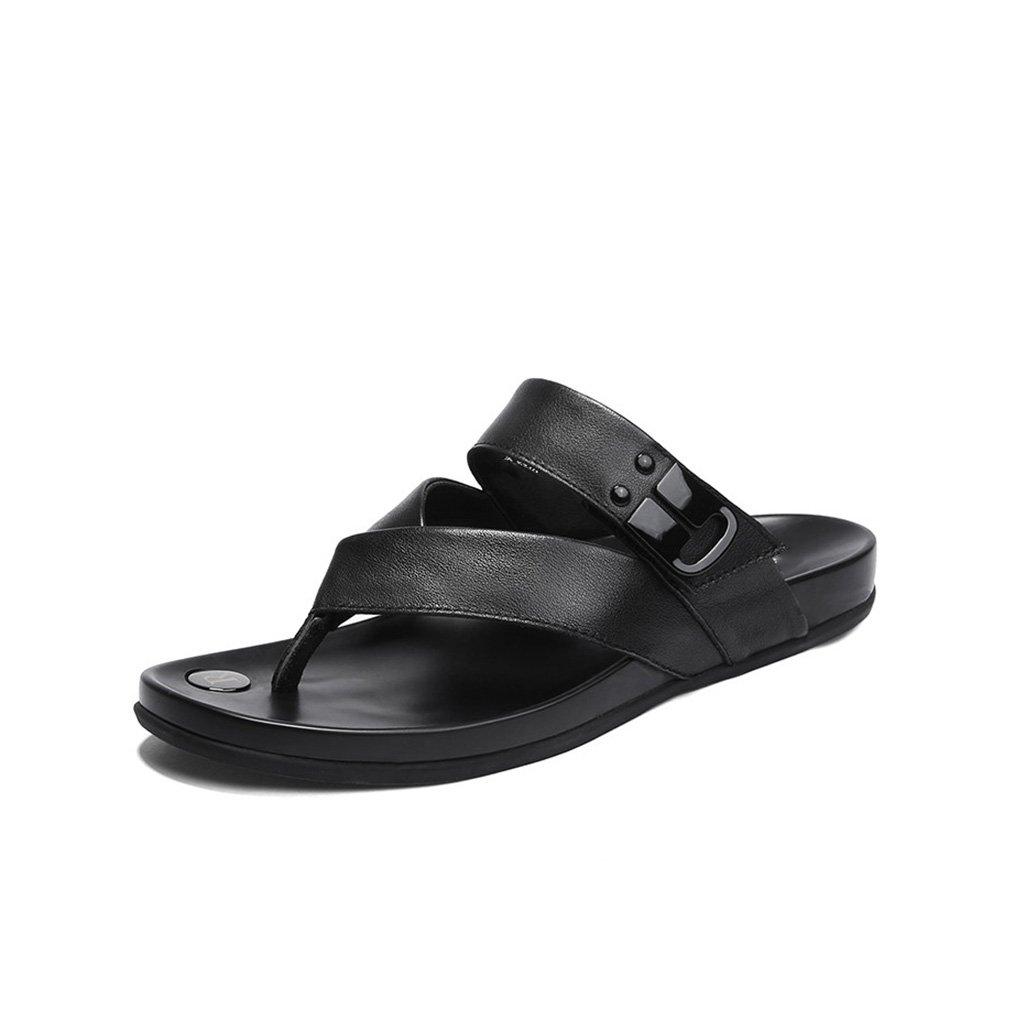 JIANXIN Flip Flops Herren Sommermode Hausschuhe Leder Mode Sandalen Flip Flops Hausschuhe (Farbe   A, größe   EU 40 US 10 UK 8)