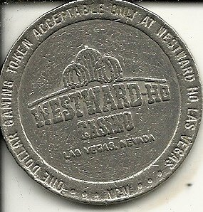 $1 westward ho 1988 casino gaming token coin las vegas nevada obsolete on one side