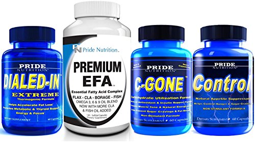 1# Weight Loss Program- Ultimate Weight Loss System for Men and Women- Best Weight Loss Stack Includes Metabolism Booster, Carb Blocker, Fat Burner, Appetite Suppressant, EFA Omega 3 6 9 Plus CLA by Pride Nutrition