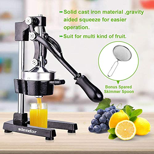 Commercial Citrus Juicer Orange Manual Juice Squeezer Heavy Duty Fruit Presser For Pomegranate Lime Grapefruit Juice Stainless Steel Extractor Cast Iron Body - Bonus Shared Skimmer Spoon